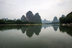 picture of early 20s  - the famous 20 yuan banknote scenery taken early in the morning when the li river is calm - JPG