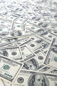 picture of 100 dollars dollar bill american paper money cash stack  - Background with money american hundred dollar bills - JPG