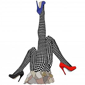 stock photo of fishnet stockings  - Humorous illustration depicting a statue dedicated to the fishnet stockings - JPG