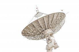 stock photo of antenna  - satellite dish antenna radar big size isolated on white background - JPG