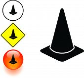 traffic cone symbol sign and button