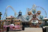 image of amusement park rides  - amusement park rides with blue background - JPG