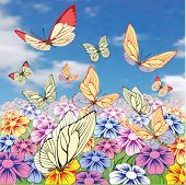 Background with butterfly. Vector.