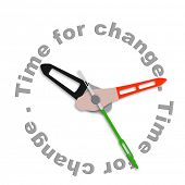 Time for change improve for the better evolve and innovate clock indicating improvement