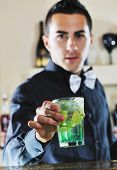 pro barman prepare cocktail drink and representing nightlife and party event  concept