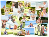 foto of senior adult  - Group of elderly smiling people relaxing alone outdoors - JPG