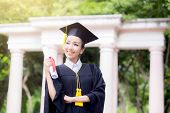 Happy Graduated Student Girl, Congratulations, Graduate Education Success, Concept Education poster