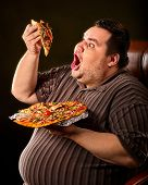 Failure of fat man eating fast food slice pizza on plate. Close up of breakfast for hungry overweigh poster