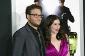 HOLLYWOOD - JAN. 10:  Seth Rogen and fiancée Lauren Miller arrive at the