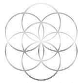Silver Seed Of Life. Precursor Of Flower Of Life Symbol. Unique Geometrical Figure, Composed Of Seve poster