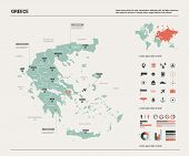 Vector Map Of Greece.  High Detailed Country Map With Division, Cities And Capital Athens. Political poster