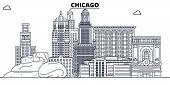 Chicago , United States, Outline Travel Skyline Vector Illustration. poster