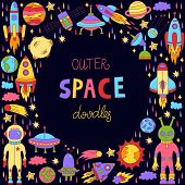Cosmos Outer Space Doodle Icons Collection Wuth Rockets Planets And Ufo Designed As Decorative Frame poster