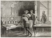 Telegraph office old illustration (Le Crouset workshop, France). Created by Neuville after Bonhomme,