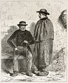 Pierre Lhote and his father Garnier old engraved portrait, miners in Epinac, France. Created by Neuv