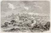 Sao Jose da Barra do Rio Negro old panoramic view, Brazil (at present days Manaus). Created by Riou, published on Le Tour du Monde, Paris, 1867