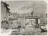 Channel in Yedo (Tokyo) old view. Created by Therond after photo of unknown author, published on Le