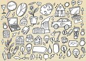 Notebook Doodle Business and Technology Design Elements Mega Vector Illustration Set
