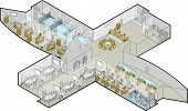 image of reception-area  - Vector Isometric illustration of first floor of a major office building includes reception and waiting area with kitchen - JPG