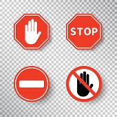Stop Sign And No Entry Hand Symbol Set Isolated On Transparent Background. Red Road Signs. Traffic R poster