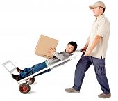 Delivery man carrying a boy in a trolley - isolated over a white background