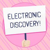Text Sign Showing Electronic Discovery. Conceptual Photo Discovery In Legal Proceedings Such As Liti poster