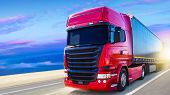 The Red Truck On The Road . Truck Transport Container . Commercial Transport . poster