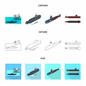 Vector Illustration Of War  And Ship Symbol. Collection Of War  And Fleet Vector Icon For Stock. poster