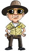 Cartoon policeman with dark glasses