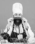 Choose Vegetarian Lifestyle. Man Cook Hat Apron Hold Fresh Vegetables. Vegetarian Recipe Concept. Ve poster