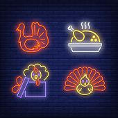 Thanksgiving Turkey Neon Sign Set. Meal, Bird, Poultry, Gift. Colorful Billboard, Bright Banner. Vec poster