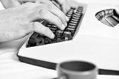 Writing Routine. Vintage Typewriter Concept. Hands Typing Retro Writing Machine. Old Typewriter And  poster
