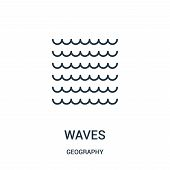 Waves Icon Isolated On White Background From Geography Collection. Waves Icon Trendy And Modern Wave poster