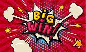 Big Win! Pop Art Cloud Bubble. Funny Speech Shopping Sale Icon Bubble. Trendy Colorful Retro Vintage poster