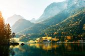 Alps, Lake Hintersee In The Morning, Majestic German Alps Mountains Under Sunlight On A Sunny Day. S poster