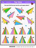 Math Visual Puzzle Or Picture Riddle With Colorful Paper Planes: Can You Find The Top View For Each  poster