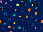 Cute Hearts Seamless Pattern. Small Hearts. Colorful Pattern With Small Hearts On Blue Background. T poster