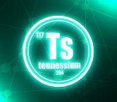 Tennessium Chemical Element. Sign With Atomic Number And Atomic Weight. Chemical Element Of Periodic poster