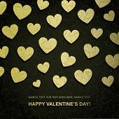 pic of love heart  - Valentine card made of golden paper heart - JPG