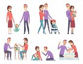 Family Couples. Love Mother And Father Playing With Their Little Kids Happy Mom Dad Parents Vector I poster