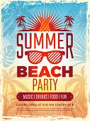 Summer Retro Poster. Vacation Tropical Beach Summer Party Invitation Retro Placard Vector Template.  poster
