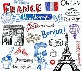 picture of bon voyage  - Symbols of France as funky doodles - JPG