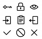 Icons for the site authorization form. Icons are aligned to pixel grid. This means that the images a