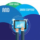 Handwriting Text Keep Calm And Drink Coffee. Concept Meaning Encourage Demonstrating To Enjoy Caffei poster