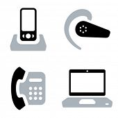 Two-coloured vector icons of communication tools: mobile phone with doc station, headset, office phone and laptop