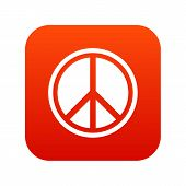 Sign Hippie Peace Icon Digital Red For Any Design Isolated On White Illustration poster