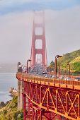 Golden Gate Bridge view at foggy morning, San Francisco, California, USA poster