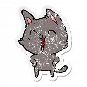 distressed sticker of a happy cartoon cat meowing poster