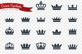 Crown Symbols. King Queen Crowns Monarch Imperial Coronation Princess Tiara Crest Luxury Royal Jewel poster