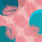 Contemporary Pattern With Colorful Memphis Tropical Palm Tree On Coral Pink Background. Beach Party  poster